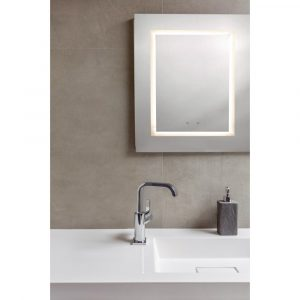 A bathroom mirror light with built in Bluetooth music speaker